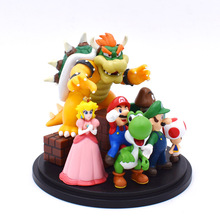 Super Mario Bros Bowser Princess Peach Yoshi Luigi Toad Goomba PVC Action Figure Toy Model Hot Toys For Children Free Shipping free shipping new marvel hot movie play arts pa the red batman pvc action figure statue doll toy 27cm model toys hot sale gs060