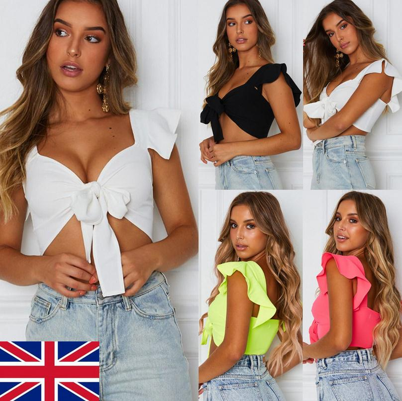 Lastest Popular UK Women Short Sleeve Crop   Top   Front Knot Tie Ladies Casual Plain Blouse Shirt Summer Short   Tops
