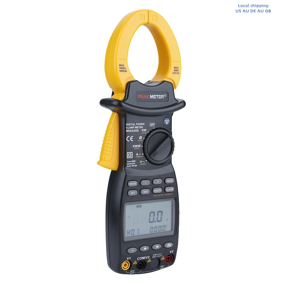 PEAKMETER MS2205 Three phase Clamp Power Meter Multifunction Harmonic Power Tester With Test Probes