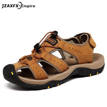 New Fashion Luxury Genuine Leather Sandals Men Casual Shoes Outdoor Beach Shoes Top Quality Men Gladiator Sandals цена 2017