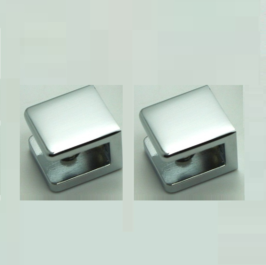Pack of 2 Chrome No-Drill Fixed Panel Glass U Clamp for 6mm ~10mm Glass, Brass Shower Glass Hardware цены
