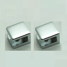 Pack of 2 Chrome No-Drill Fixed Panel Glass U Clamp for 6mm ~10mm Glass, Brass Shower Glass Hardware