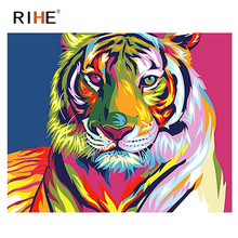 RIHE Colorful Tiger Diy Painting By Numbers Animal Oil On Canvas Hand Painted Cuadros Decoracion Acrylic Paint 40X50CM