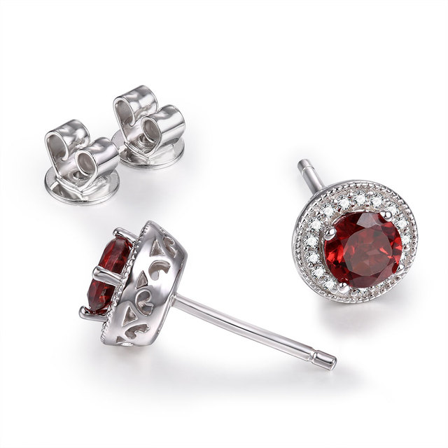 Double-R Garnet stud Earrings natural Ruby Gemstone 925 Sterling Silver January Birthstone Hypoallergenic For Noble Ladies