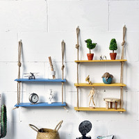 Nordic Vintage Decorative Wall shelf Wood for book Artificial Flower Wooden Home Decor Retro Wall Haning Storage Holders Racks