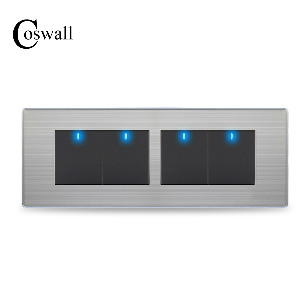 COSWALL 4 Gang 2 Way Luxury Light Switch Push Button Wall Interruptor With LED Indicator Stainless Steel Panel 197* 72mm usb thermostat temperature control push button switch timer switch third gear with led light line 5v 2 5a