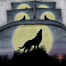 JF-321 de cama de color Vintage 4 Uds juegos de cama tamaño king queen sombra de lobo aullando bajo la luna ropa de cama fundas de almohada