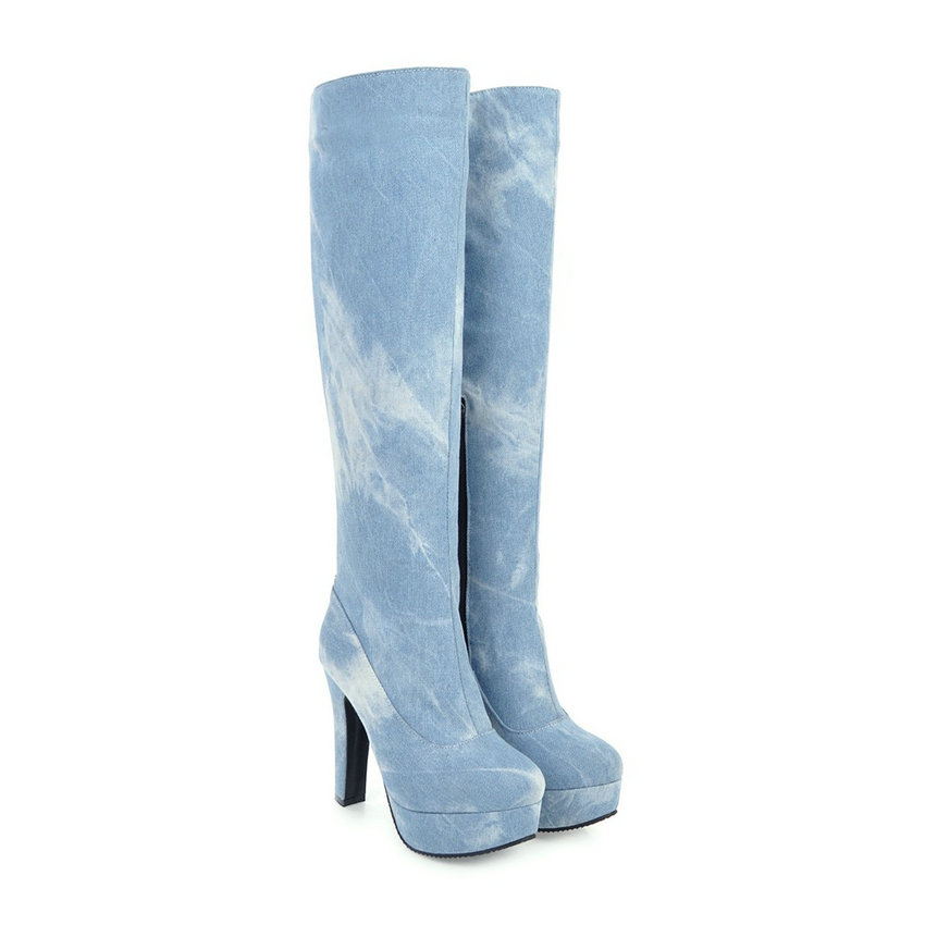 Bottes 43 light Le Zipper Chaussures Denim Carré Talons Taille Genou 2018 Dames Élégant Sur Hauts Blue Vinlle Pointu Bout À Moto 34 Deep Blue Femmes wON8PkXZn0
