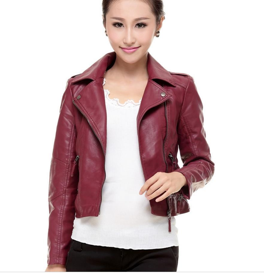 2018 PU   Leather   Jacket Women Slim Biker Motorcycle Soft Outwear Faux   Leather   Zipper Jackets Spring Ladies Coats 201832