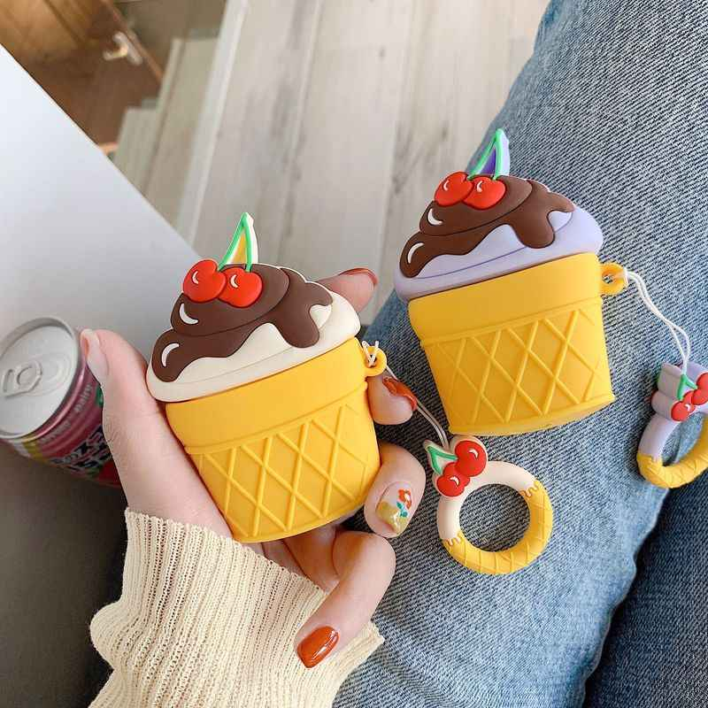 New Protective Cover Cartoon Ice Cream Seashell Dust Guard For AirPods Wireless Headphones Case Silicone Soft Pouch Bags