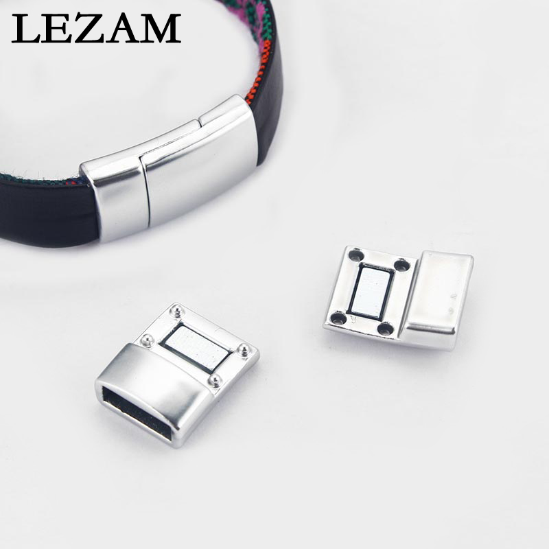 5Sets Sliver Plated Tone Strong Magnetic Smooth Clasp For 5mm 10mm Flat Leather Cord Brace