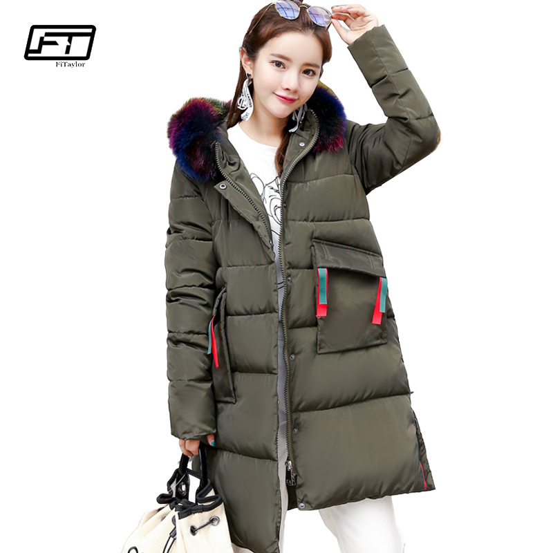 Fitaylor Winter Warm Fur Collar Hooded Parkas Mujer 2017 New Thick Loose Cotton Padded Coat Fashion Medium Long Jacket Women akslxdmmd parkas mujer 2017 new winter women jacket fur collar hooded printed fashion thick padded long coat female lh1077
