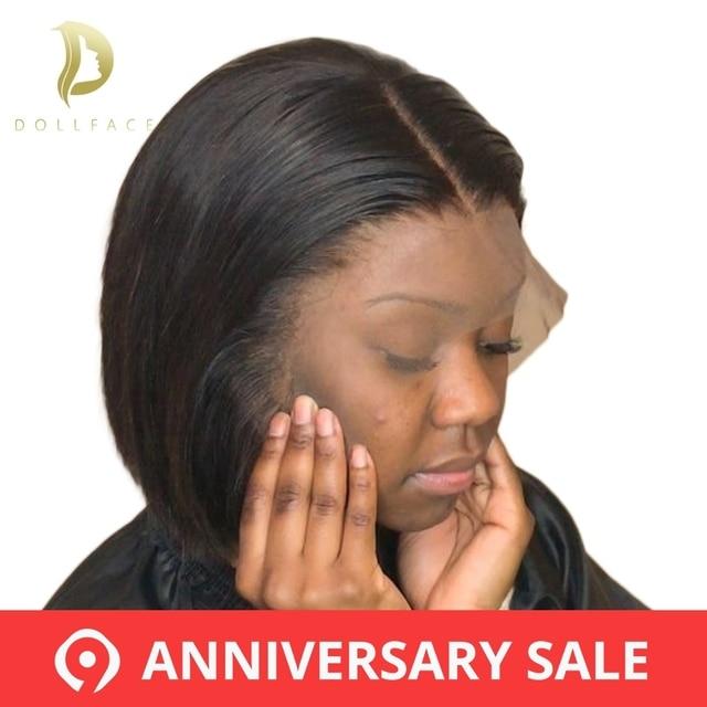 Pelucas de pelo humano de encaje corto Peluca de Bob completa y gruesa para mujeres negras pelo Remy brasileño de Color Natural envío gratis muñeca