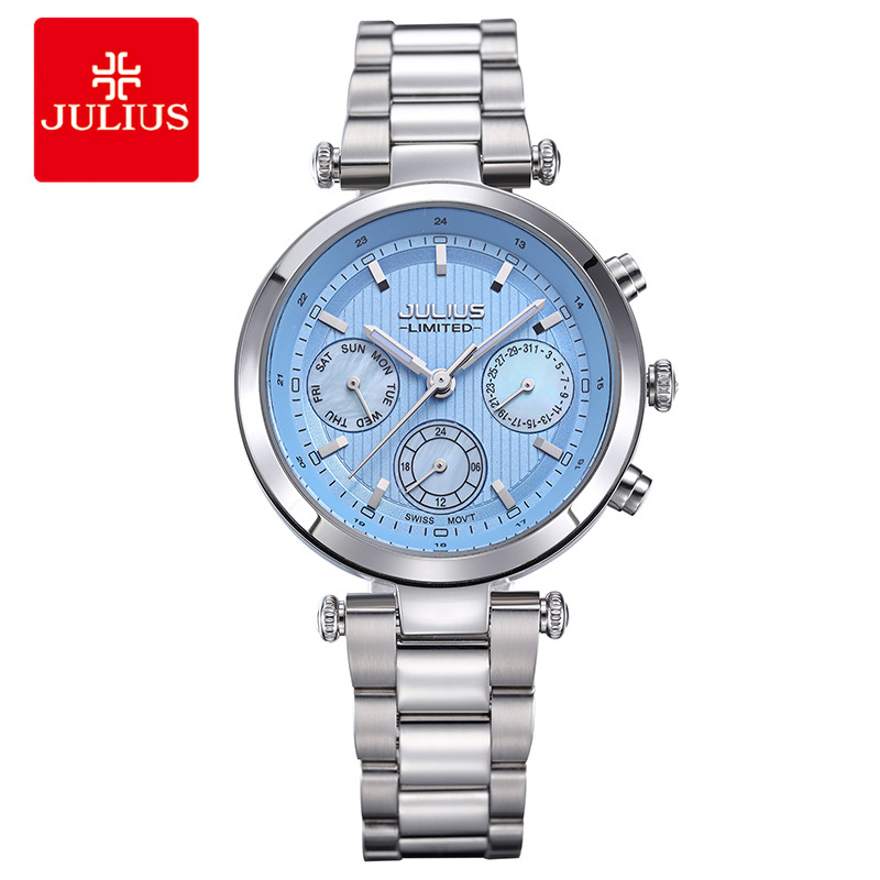 2018 Julius Watch Women Stainless Steel Chronograph 3 Dials Limited Edition Silver Quartz High Quality Top Brand Whatch JAL-029 недорго, оригинальная цена