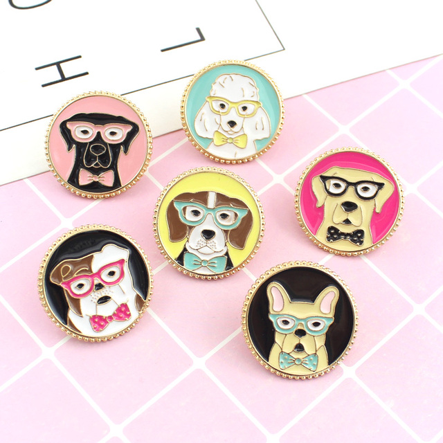 Dog Head Shape Brooch Colourful Bulldog Golden Retriever Poodle Cute