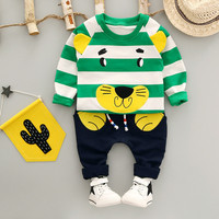 2Pcs 12M-3T Children's Clothing Set T-Shirt+Pants Baby Boy Clothes Sets Cotton Cartoon Tiger Striped Autumn For Clothes Sets V20