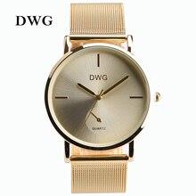 DWG Nueva Moda Casual Mujeres de Lujo Banda de Acero Inoxidable de Cuarzo Relojes de Pulsera 3 Señoras de Los Colores Vestido Reloj de Oro Rosa de Plata