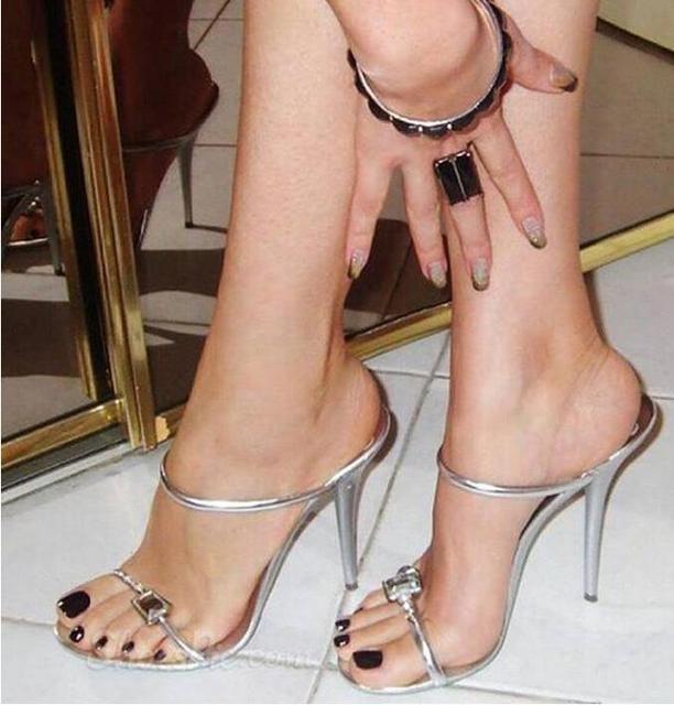 5ecddf48c Fashionable silver thin strap high heel summer slippers rhinestone stiletto  heels party dress shoes woman on discount