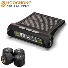 Solar Power TPMS Smart Car Tire Tyre Pressure Monitoring System Wireless Alarm Warning with 4 Sensors BAR PSI LCD Display