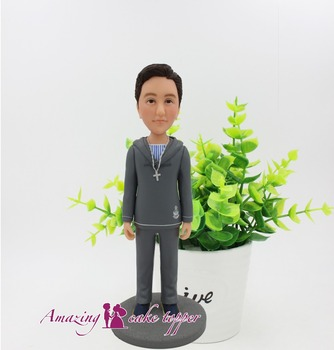2019 AMAZING CAKE TOPPER Toys Gray hoodie boy sculpture And Groom Gifts Ideas Customized Figurine Valentine's Day