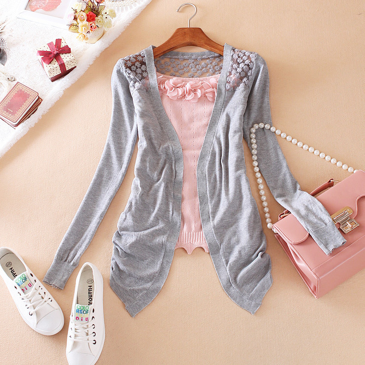 Wholesale Fashion Clothes Women Clothing Spring Lace Sweet Crochet Knit Blouses Ladies Sweater Cardigan Sexy Female Blouse Shirt