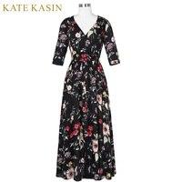 Kate Kasin Boho Style Long Dress 2017 Summer Ladies Beach Robe Floral Print Half Sleeves Maxi