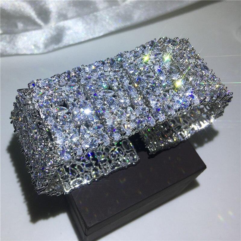 Bracelet femme de luxe 5A cubique zircone or blanc rempli fête fiançailles bracelets pour femme accessoires de mariage largeur 30mm - 3