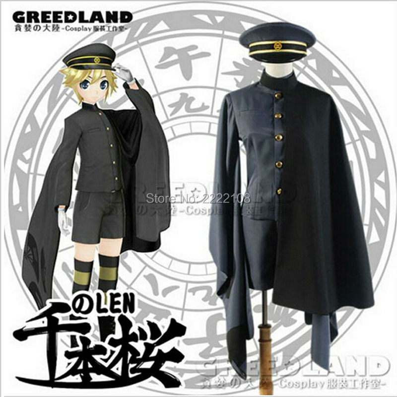 Senbonzakura Vocaloid Hatsune Miku Kagamine LEN Cosplay Costume Cheap Men's Cosplay Kimono Army Uniform Hot Sale,Free shipping