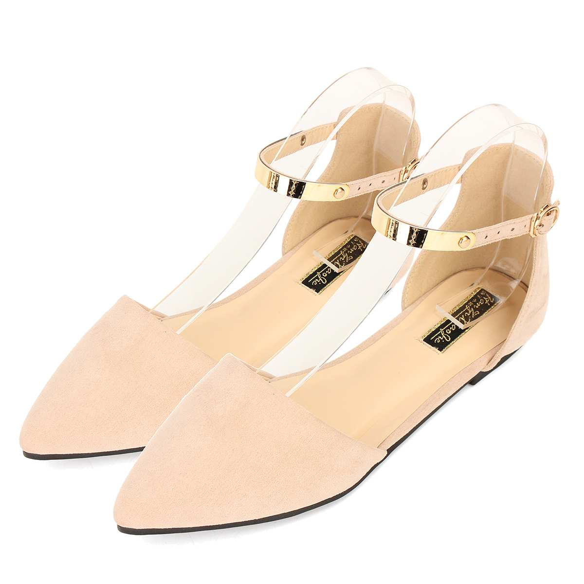 c4281740af31 NIS Faux Suede Women Flat Shoes Women Spring Summer Pointed Toe Ankle  Buckle Strap Flats Ladies Casual Shoes Ballet Flats New