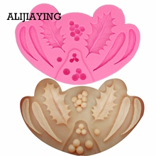 ALIJIAYING M1287 1Pcs Cupcake Holly Leaf Silicone Molds