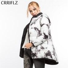 87ce193e3e1 CRRIFLZ зимой оформление Мода Двусторонняя одежда печати живопись Теплая  зимняя кофта Для женщин пальто с капюшоном парки женски.