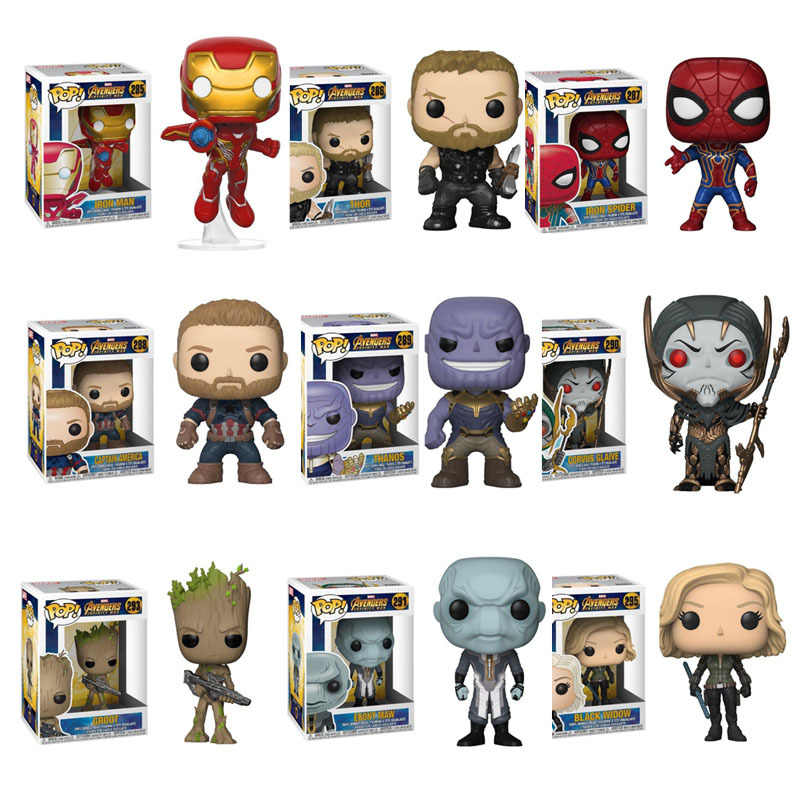 FUNKO POP Marvel Avengers3: Infinity War THANOS,Ebony Maw,Black Widow,Thor Action Figure toys for Children gift with Retail Box
