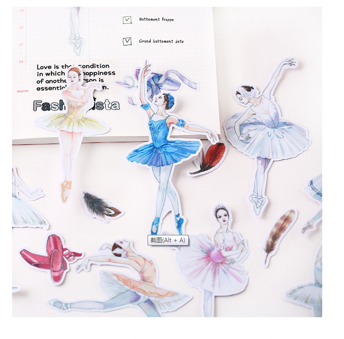 14pcs Creative Cute Kawaii Self-made Character  Ballet Hand Painted  Scrapbooking Stickers/decorative  /DIY Craft Photo Albums