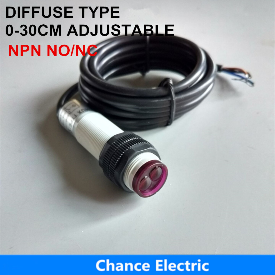 Switches e18-3a30na/nb Free Shipping Npn No/nc 3 Wire Photoelectric Sensor Switch 30cm Ajust Distance Infrared Diffuse Type
