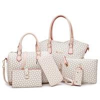 6pcs/set Women Handbags Bag Set Crossbody Bags For Women Shoulder Messenger Bag Large Female Totes Geomeric Bag Clutch Purse