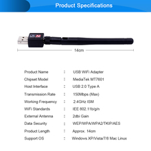 CHIPAL 150Mbps External Wireless Network Card Mini USB WiFi Adapter Antenna LAN Ethernet Wi-Fi Receiver 802.11n for Windows Mac