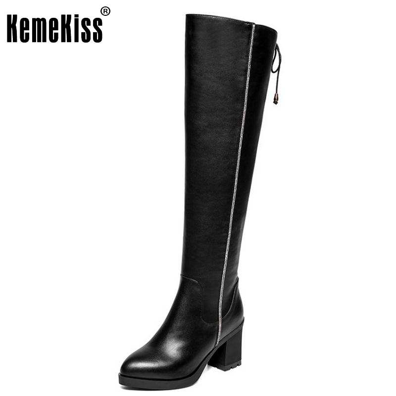Women Vintage Boots Genuine Leather Over Knee Boots Sexy High Heel Pointed Toe Riding Botas Winter Zipper Women Shoes Size 34-39 цены онлайн