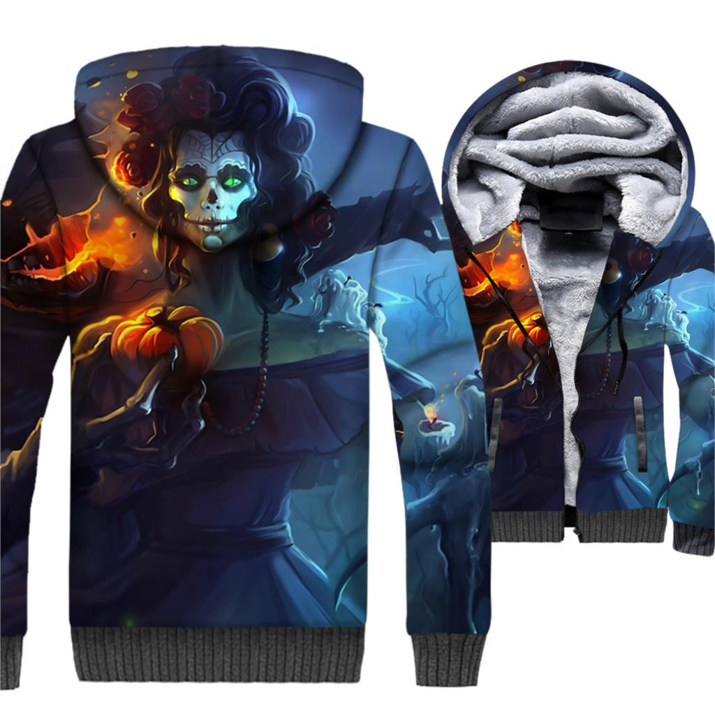 Beauty Skeleton Halloween imp Jacket Skull Hoodie Men Funny Hooded Sweatshirt Winter Thick Fleece Warm 3D Coat Zombie Sportswear
