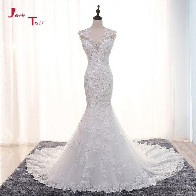 Jark Tozr 100% Real Photos Shiny Beading Crystal Lace Mermaid Wedding Dresses 2018 China Online Shop Vestido De Noiva Sereia