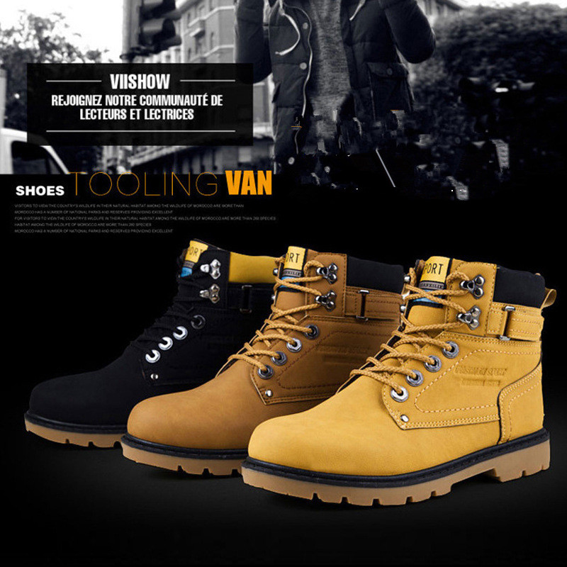 2016 NEW Autumn Winter Men Motorcycle Shoes Martin Boots Nubuck Leather Warm Snow Boots Outdoor Casual Timber Boots Botas Hombre new winter autumn brand luxury women shoes flats suede leather warm snow casual zapatillas mujer plush timber shoes for lady