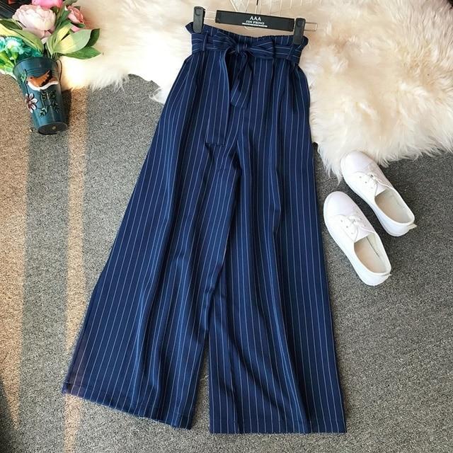 Woherb Elegant Striped Wide Leg Pants Women Office Work Trousers 2019 Summer Loose High Waist Pant Pantalones Mujer 22237