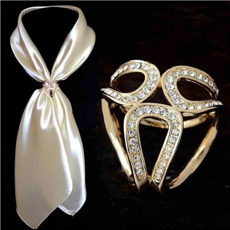 d0ea063aa11 Vintage Gold Color/Silver Brooch Silk Scarf Buckle Hollow Flower Rhinestone  Jewelry Fashion Brooches For