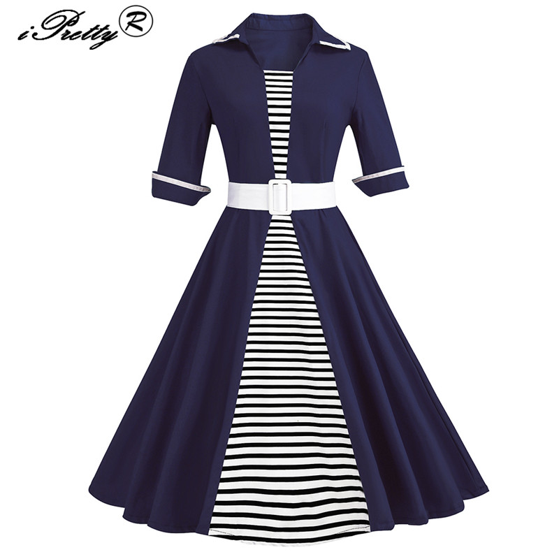 iPretty Striped Patchwork Vintage Dress Women Half Sleeve Big Swing Rockabilly Dress With Belt vestidos mujer Midi Party Dresses