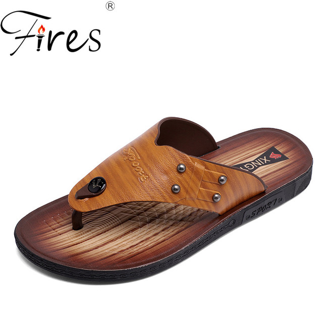 3e7eba3c6f5 Fires Summer Men Slippers Artificial Leather FlipFlops Non-slip Outdoor Casual  Shoes Male Outdoor Beach Shoes Cool Leisure Shoes