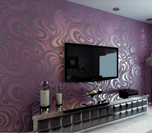 ФОТО Q QIHANG 3D Abstract Curve Modern Luxury Flocking Striped Wallpaper Purple0.7m*8.4m=5.88m2