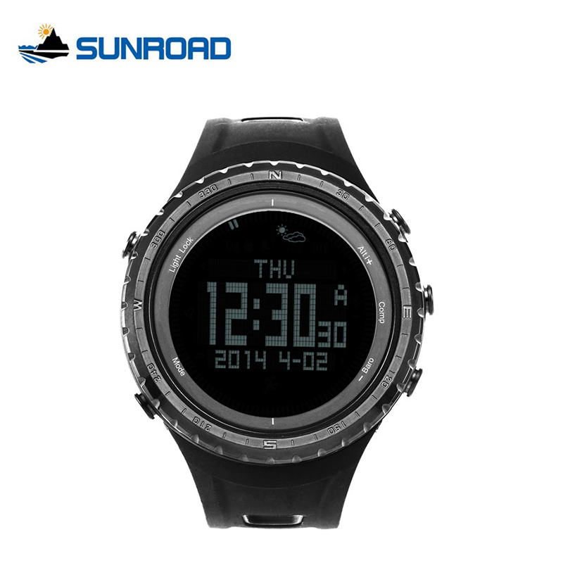 SUNROAD Top Brand Luxury Pedometer Sports Watch Men Waterproof Altimeter Compass Barometer Outdoor Digital Fishing Watches sunroad fr800nb sports watch men waterproof digital altimeter barometer compass watches pedometer men watch style clock green