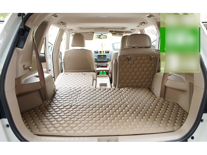 For Toyota Highlander 2015 2016 5 seat ! Beige PU Leather Rear trunk floor pad cover mats carpets