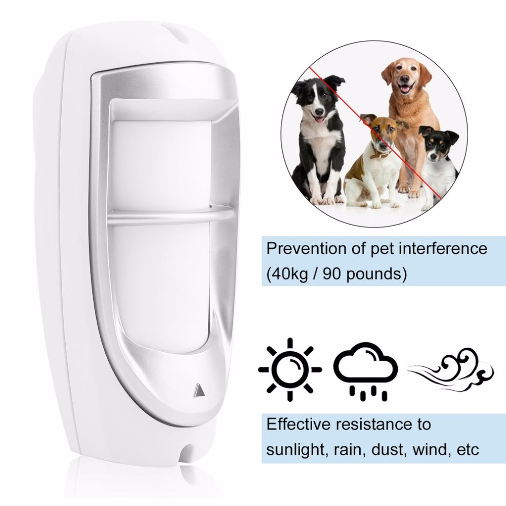 Waterproof Pet Immunity IP45 Outdoor Digital Motion Dual PIR Detector Dual Optical Filtering Sensor System White Wholesale
