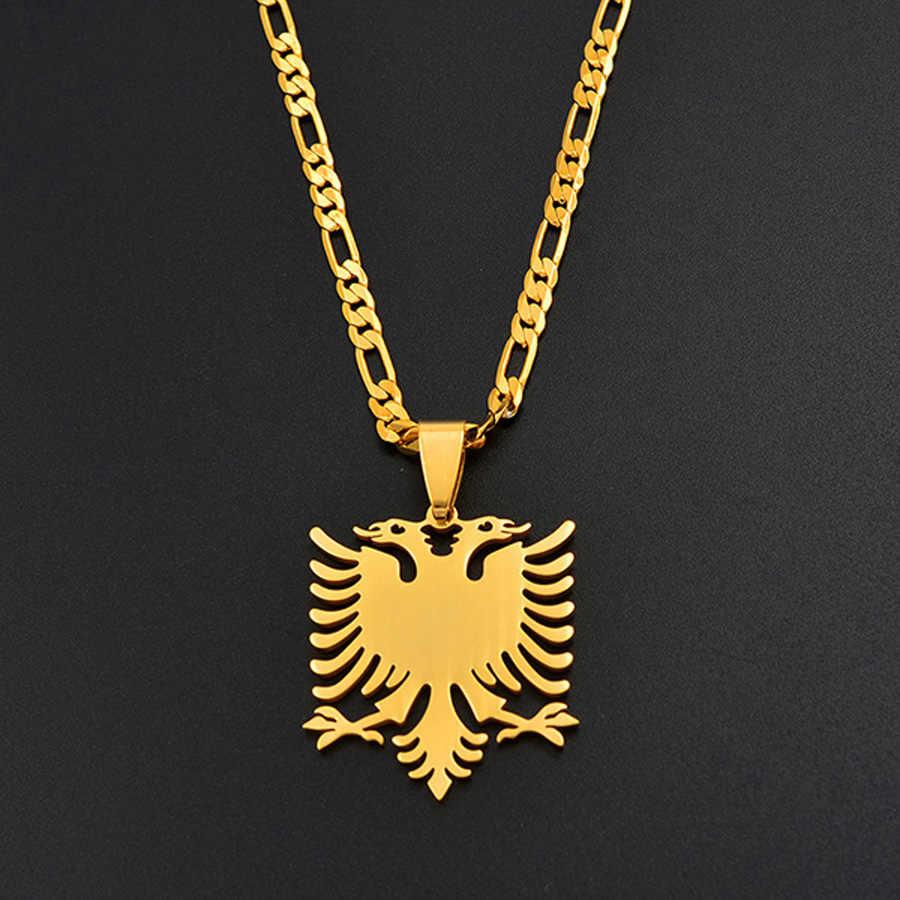 Anniyo Albania Eagle wisiorek naszyjniki złoty kolor i biżuteria ze stali nierdzewnej etniczne prezenty dla kobiet mężczyzn #068921