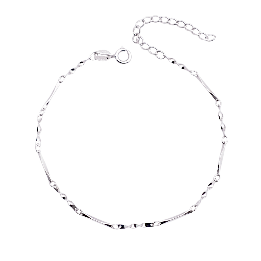 Fashion 925 sterling silver chain bracelets & bangles women lovers birthday gifts White Gold Plated - CRYSTAL BEADS store